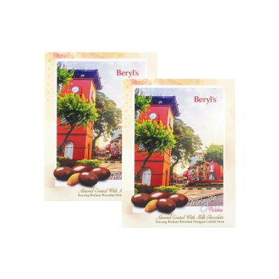 Post Card Melaka Beryl's Almond Coated with Milk Chocolate 110g Twin Pack