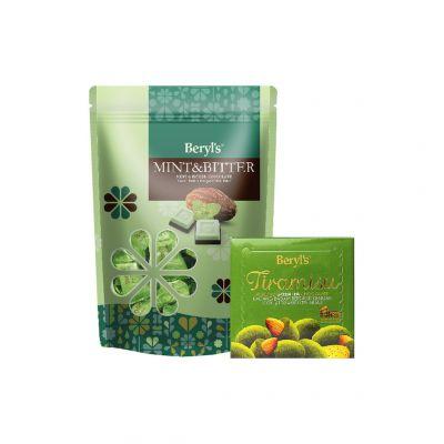 Mint & Bitter Chocolate 280g + Tiramisu Almond Green Tea Chocolate 65g