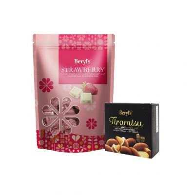 White Chocolate With Dried Strawberry Chips 280g + Tiramisu Almond White Chocolate 65g